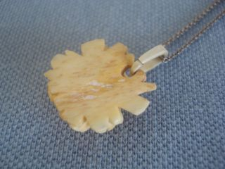 Antique Carved Bone Rose Pendant Small Size On New Silver Chain Sold